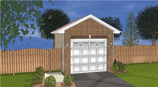 This image is a 3D rendering of these Garage Plans.