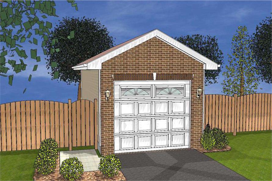 Color rendering of Traditional Garage Plan #100-1108.