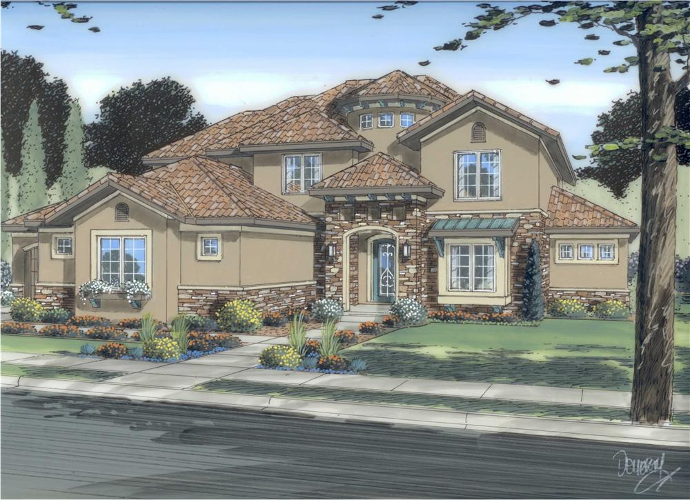 This is a colored rendering of these Tuscan House Plans.