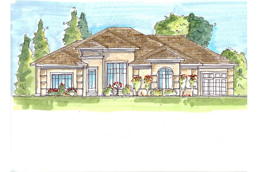 This is a color rendering of these Mediterranean Homeplans.