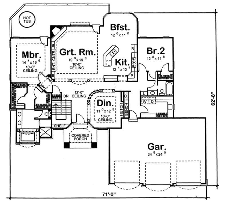 Mediterranean home plan 2 bedrms 2 baths 2112 sq ft for 100 sq ft house plans