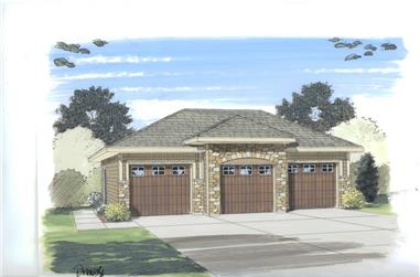 0-Bedroom, 888 Sq Ft Garage House Plan - 100-1117 - Front Exterior