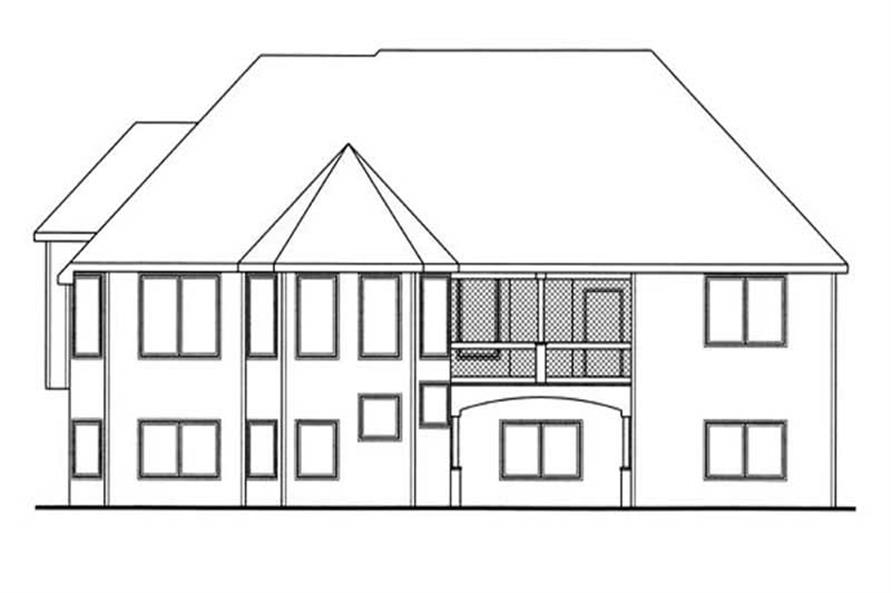 Home Plan Rear Elevation of this 4-Bedroom,2788 Sq Ft Plan -100-1119