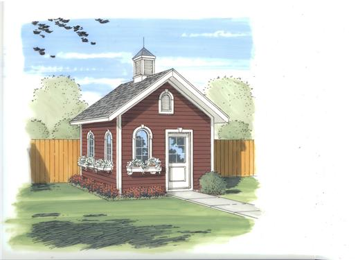 This is the front rendering of these storage shed blueprints.