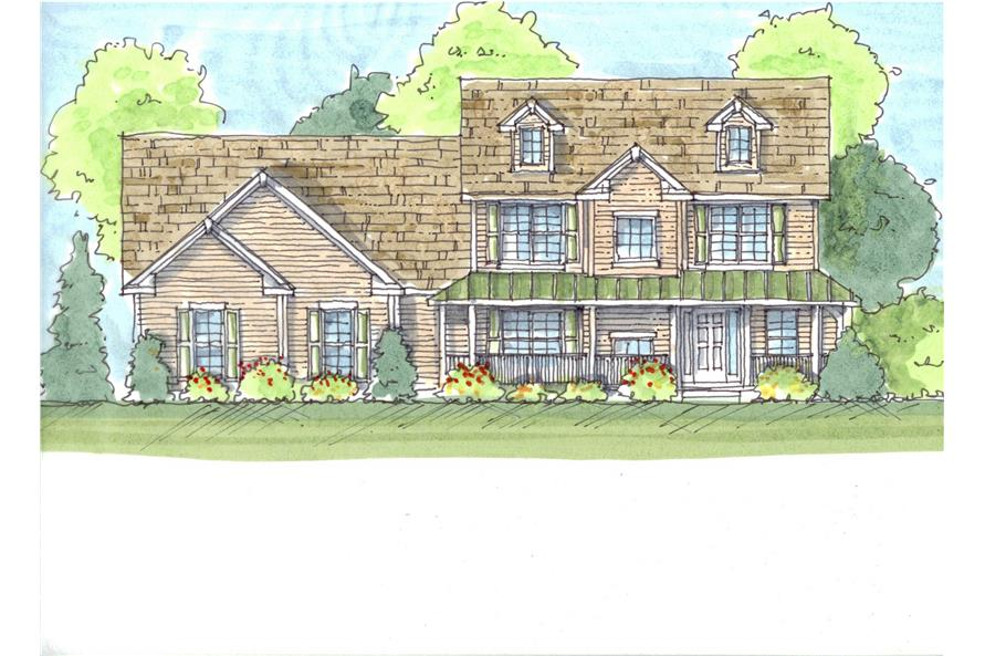 This is a color rendering of these Farmhouse Homeplans.