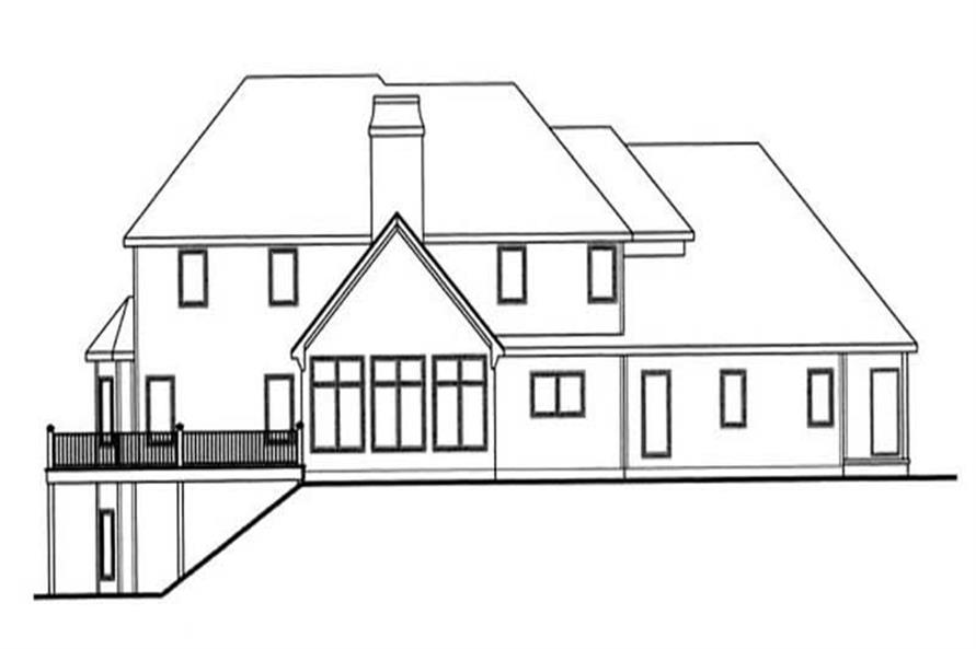 Home Plan Rear Elevation of this 5-Bedroom,3082 Sq Ft Plan -100-1132