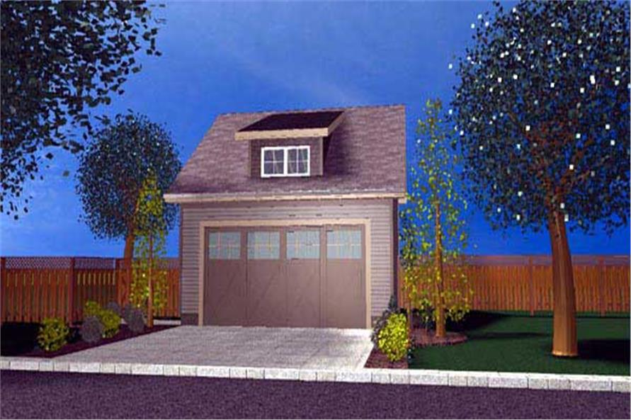 2-Car, 481 Sq Ft Garage Plan - 100-1134 - Main Exterior
