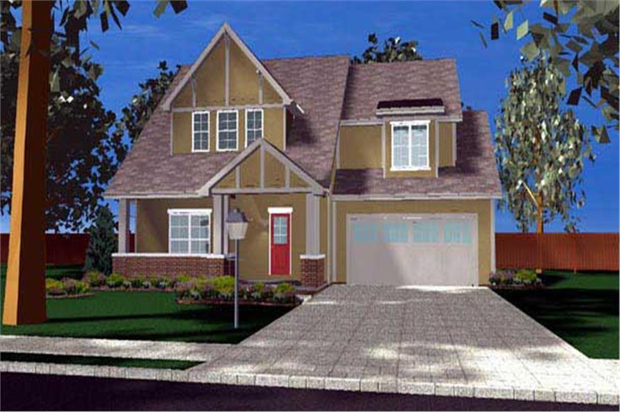 A computer was used to create this elevation of these Craftsman House Plans.