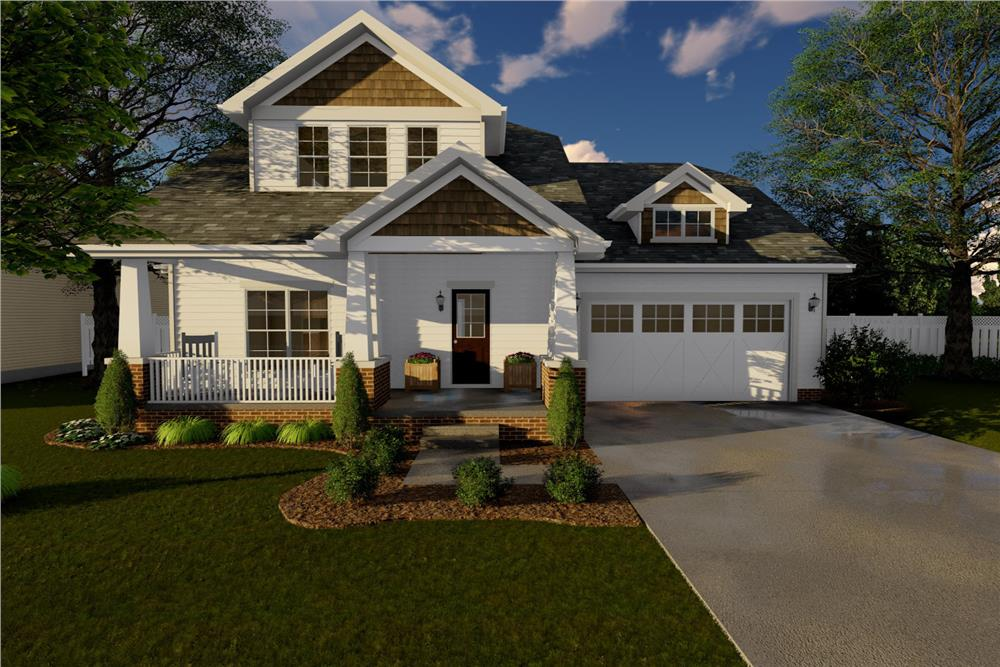 Color rendering of Bungalow home plan (ThePlanCollection: House Plan #100-1137)