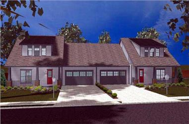 This is a computer rendering of these Duplex House Plans.