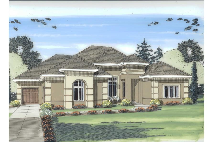 This is an artist's rendering of these Mediterranean Homeplans.