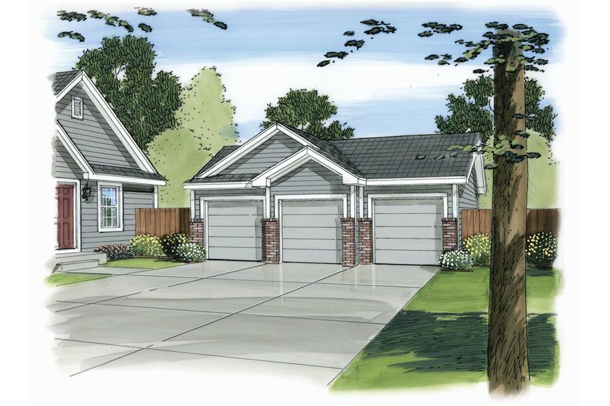 This is a color rendering of these Garage Plans.