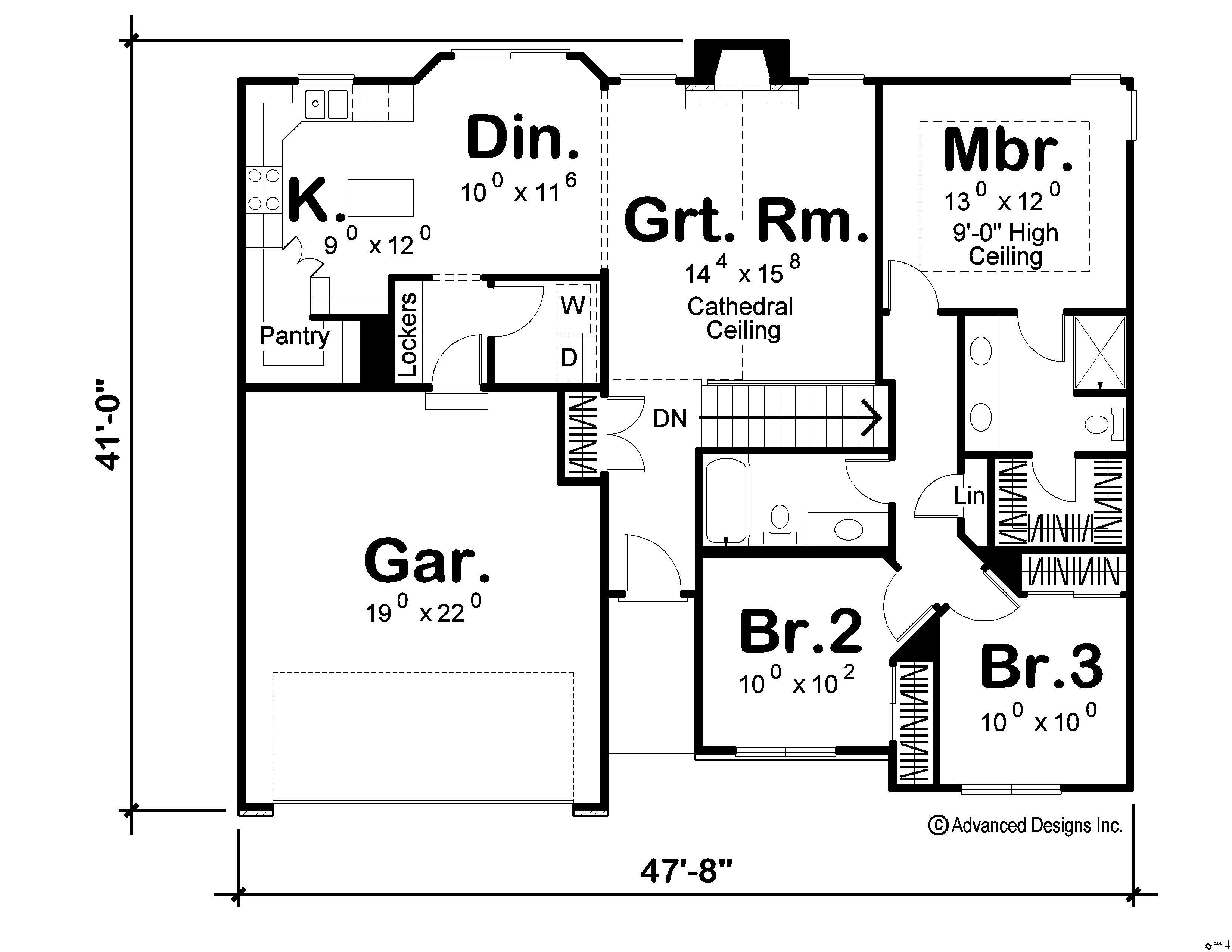 Craftsman home plan 3 bedrms 2 baths 1330 sq ft for 100 sq ft house plans