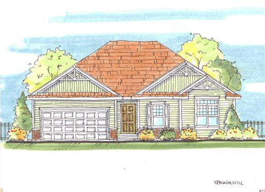 This image shows the front elevation of these Small Craftsman Houseplans.