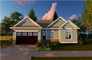 3-Bedroom, 1330 Sq Ft Craftsman Home Plan - 100-1147 - Main Exterior
