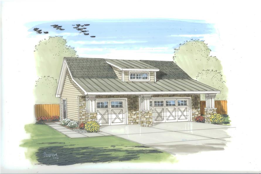 This is an artist's colored rendering of these Garage Plans.