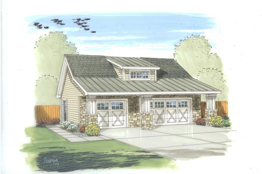 Color rendering of Garage plan (ThePlanCollection: House Plan #100-1150)