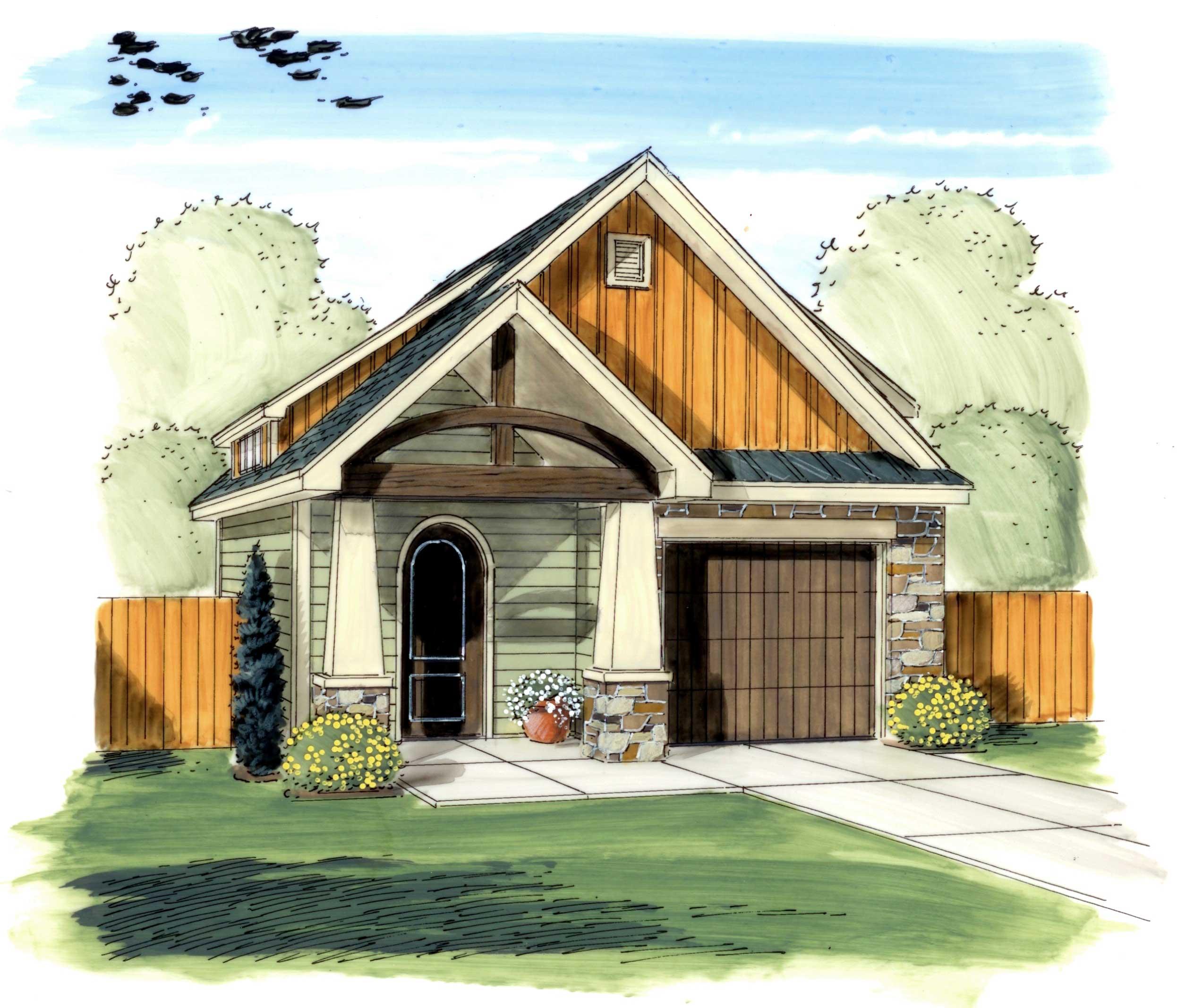 Craftsman Style Det Garage Garage Plans: Garage Style Garage With 1 Car, 0 Bedroom, 626 Sq Ft
