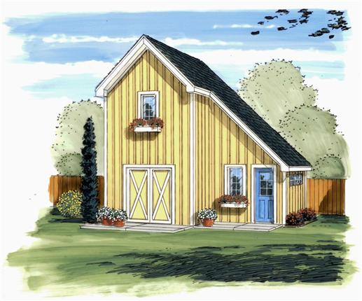 This is the front elevation of these Garden Shed Blueprints.