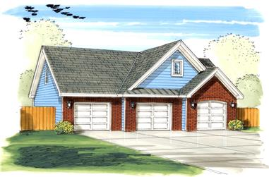 Color rendering of the front elevation of Garage Plan #100-1153.