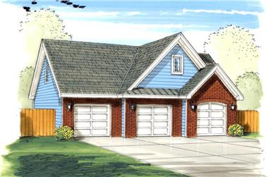 0-Bedroom, 300 Sq Ft Garage House Plan - 100-1153 - Front Exterior