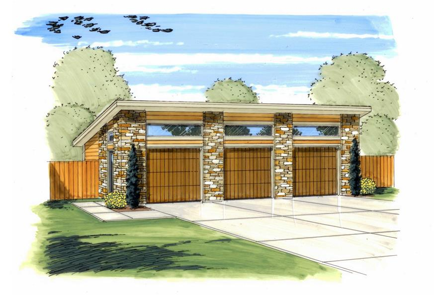 This is the front elevation of these Prairie style Garage Plans.