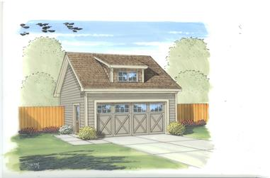 This is the front elevation of these Garage Plans