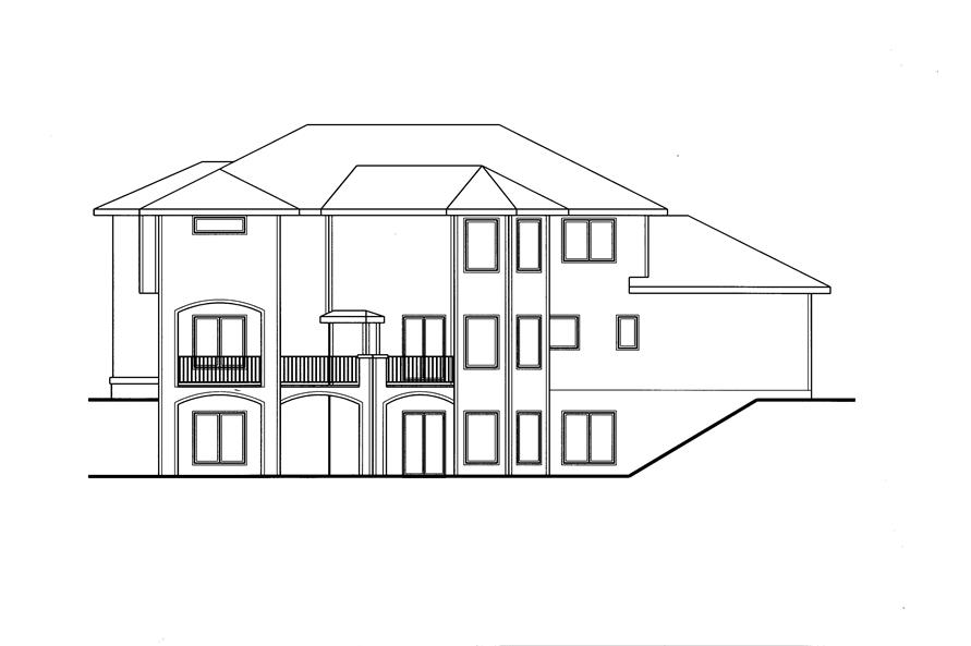 Home Plan Rear Elevation of this 4-Bedroom,3086 Sq Ft Plan -100-1158