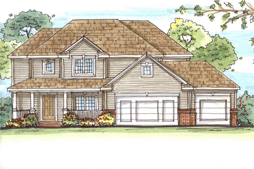 This is a color rendering of these Traditional House Plans.