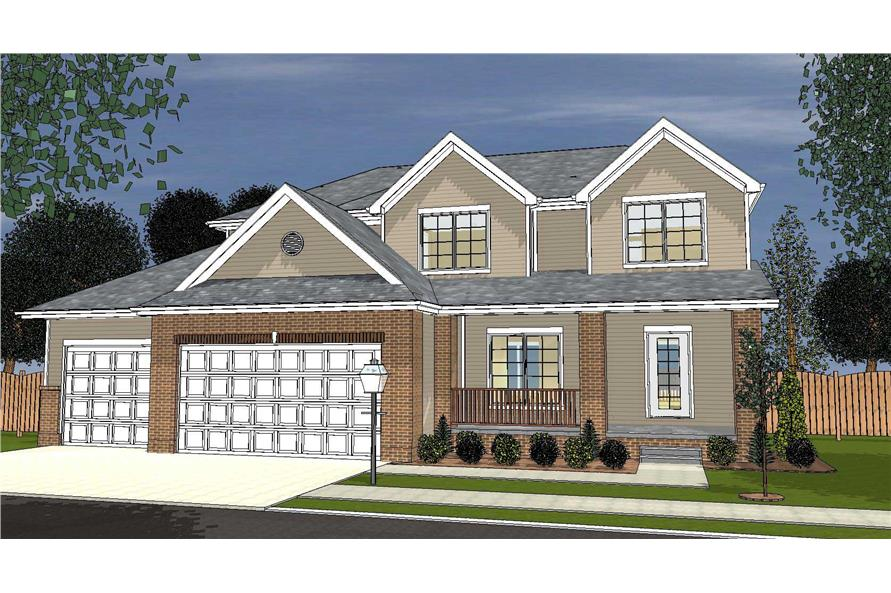 This is the front elevation of these Cape Cod House Plans.