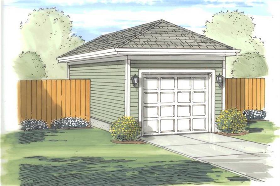 Artist's rendering of Garage plan (ThePlanCollection: House Plan #100-1162)