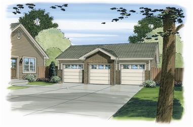 0-Bedroom, 888 Sq Ft Garage House Plan - 100-1164 - Front Exterior