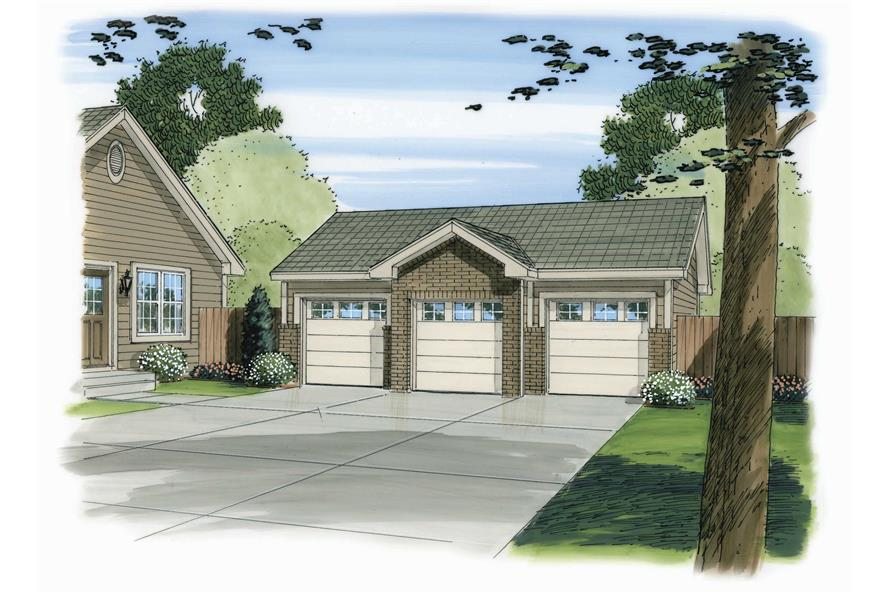 This is a color front elevation of these Garage Plans.