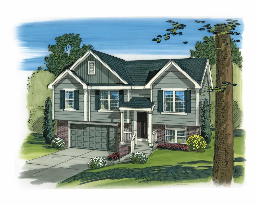 Front elevation of Split-Level home plan (ThePlanCollection: House Plan #100-1165)