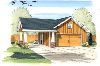 0-Bedroom, 50 Sq Ft Garage House Plan - 100-1166 - Front Exterior