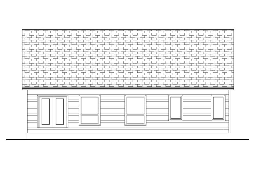 Home Plan Rear Elevation of this 3-Bedroom,1438 Sq Ft Plan -100-1168
