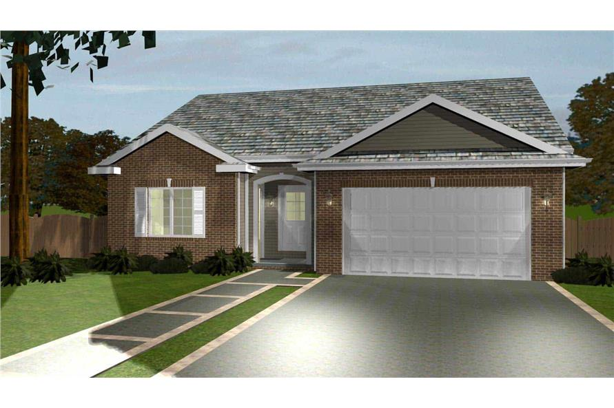 100-1168: Home Plan Rendering-Front View