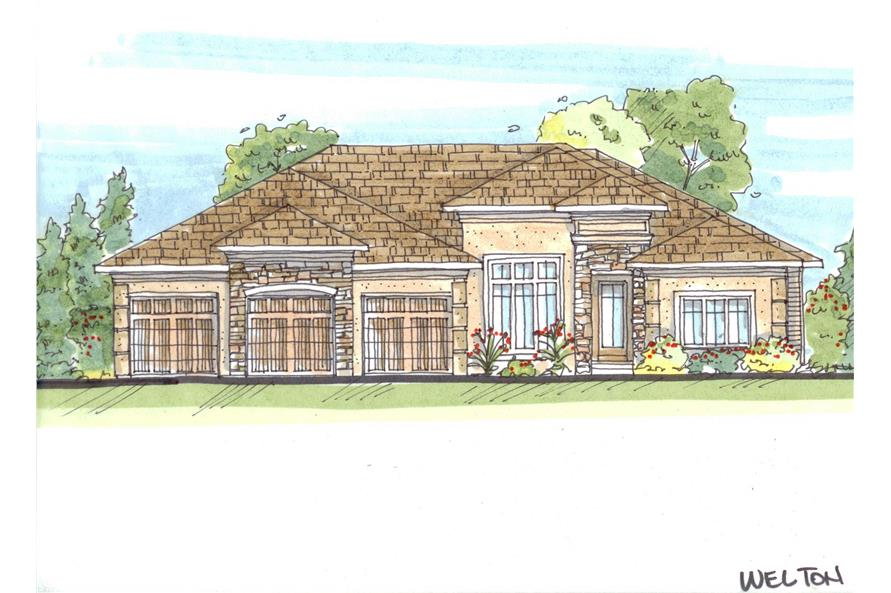 This is a color rendering of these French Mediterranean House Plans.