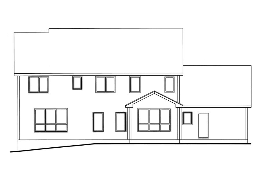 Home Plan Rear Elevation of this 4-Bedroom,2869 Sq Ft Plan -100-1170