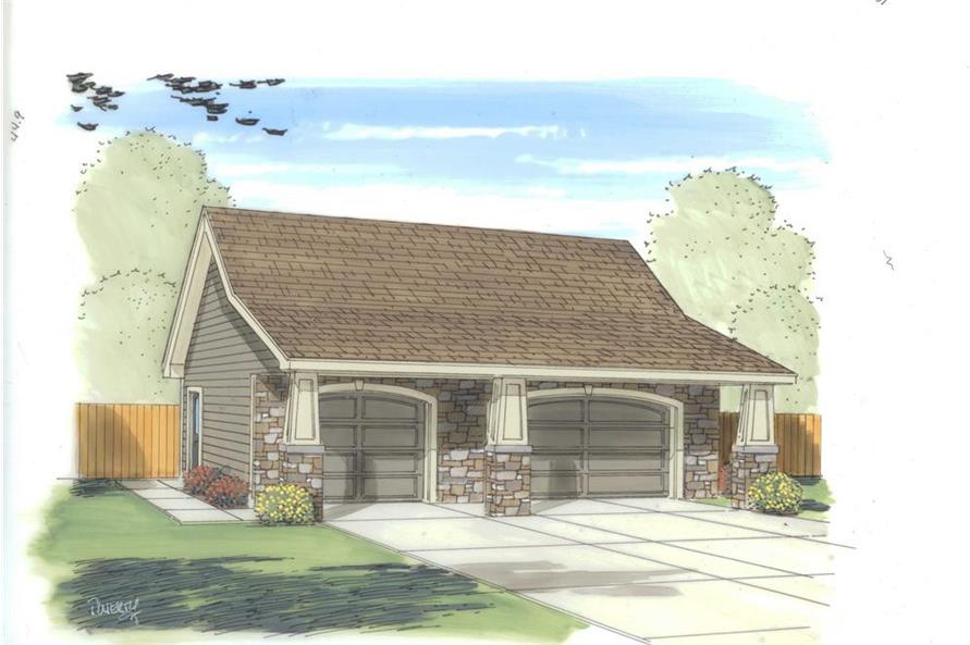 Color rendering of Garage plan (ThePlanCollection: House Plan #100-1171)