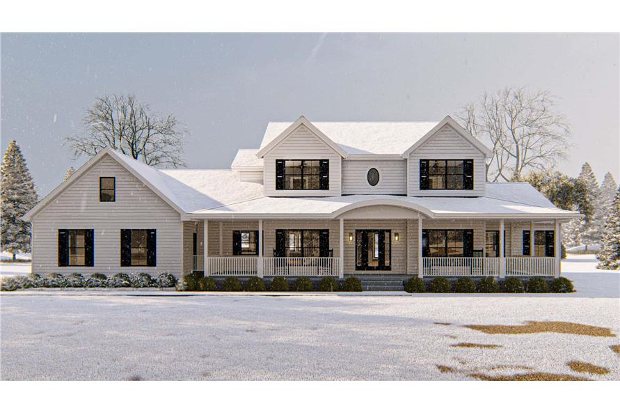 Front View of this 4-Bedroom,3142 Sq Ft Plan -100-1172