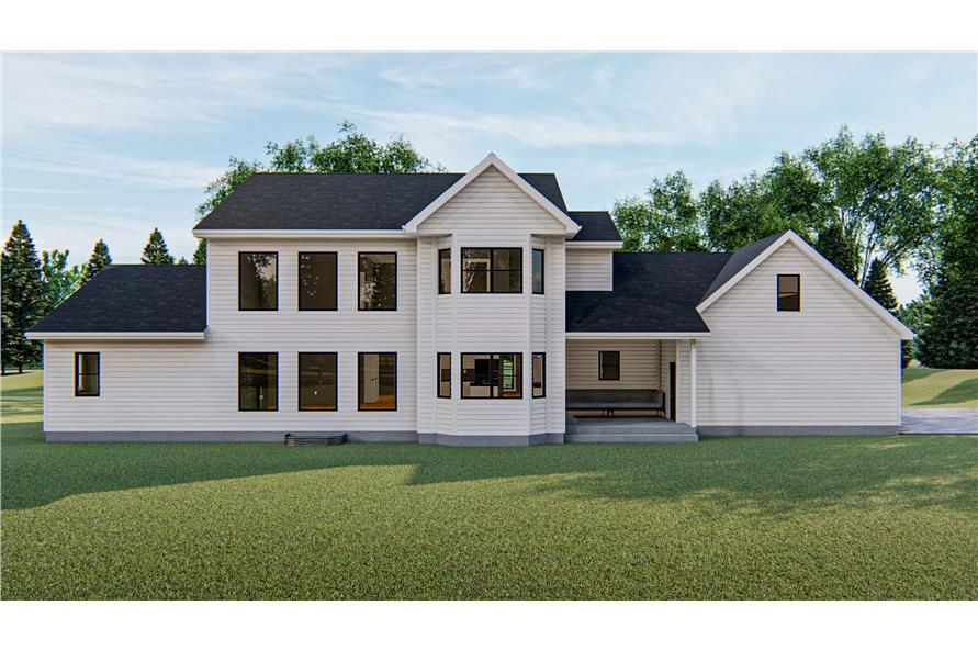 100-1172: Home Plan Rendering-Rear View