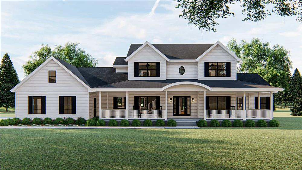 Color rendering of Colonial home plan (ThePlanCollection: House Plan #100-1172)