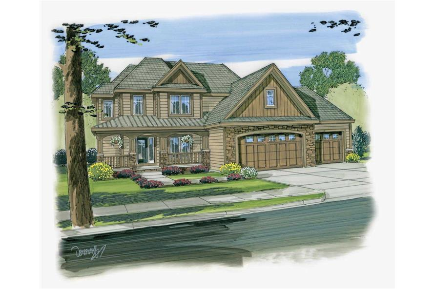 This image is an artist's painting of the front elevation for these Craftsman House Plans.