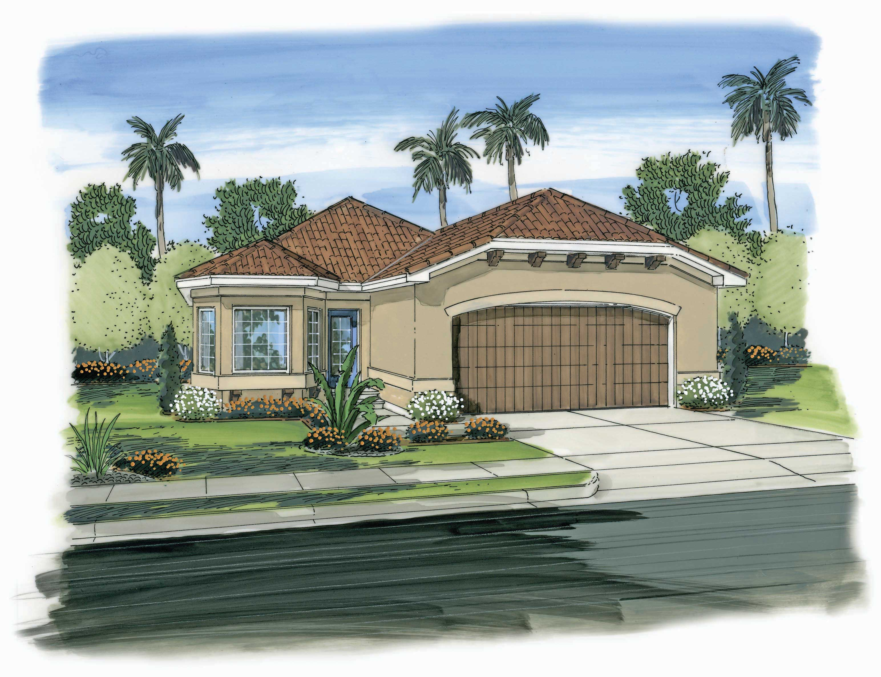california plan plans sq ft mediterranean spanish floor homes southwest bedrooms houses story stucco bedroom garage theplancollection exterior paint 1177