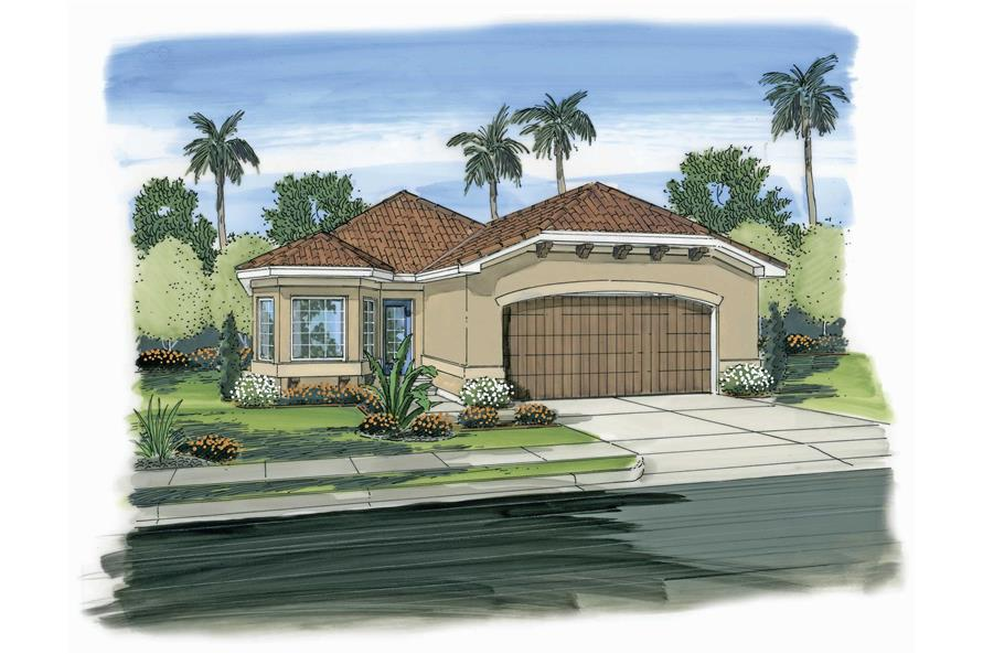 This is a colored front elevation of these Spanish House Plans.