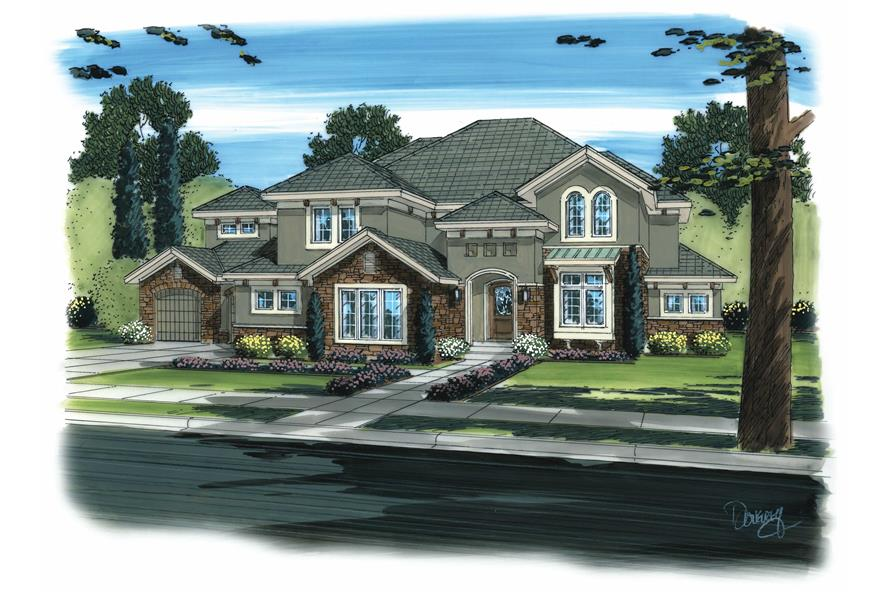 5-Bedroom, 3749 Sq Ft Mediterranean Home Plan - 100-1178 - Main Exterior