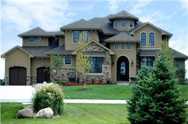 5-Bedroom, 3749 Sq Ft Tuscan House - Plan #100-1178 - Front Exterior