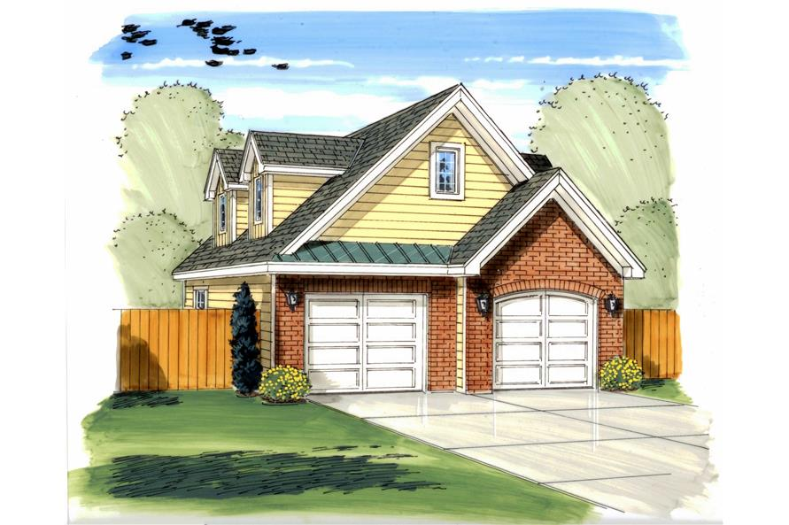 This is an artist's painting of these Garage House Plans.