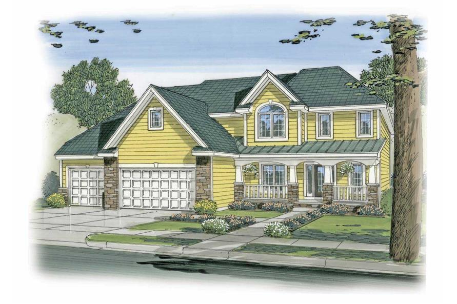 This is a colored rendering of these Victorian House Plans.